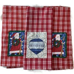 Gingham Christmas Hand Towels Set Of 3